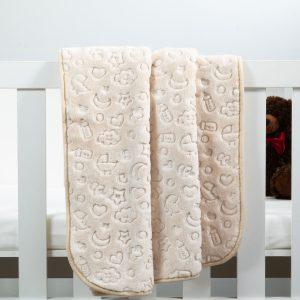 Baby Faux Mink Blanket Beige Pattern