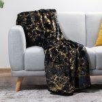 Plush Throws Black & Gold Pattern