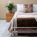 Paris Faux Mink Blanket Pattern Brown & Beige