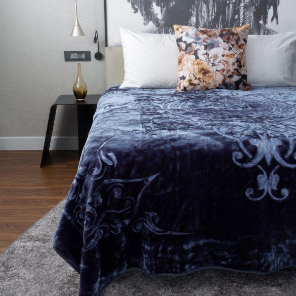 London Faux Mink Blanket Denim Blue