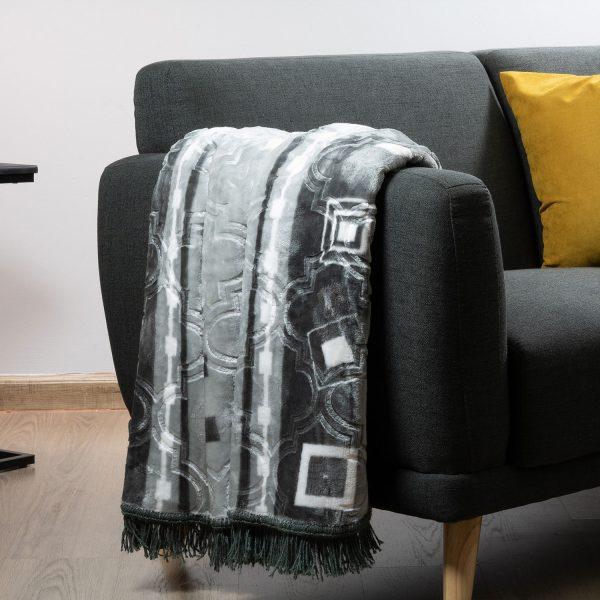 Faux Mink Frill Blanket Grey