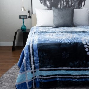Paris Faux Mink Blanket Pattern Blue