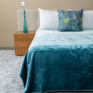 Colourful Faux Mink Blanket Teal