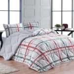 Luxury 3-Piece Sherpa Comforter Set Green & Red Check