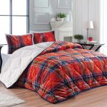 Luxury 3-Piece Sherpa Comforter Set Red Check