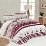 Luxury 3-Piece Sherpa Comforter Set White & Red Deer